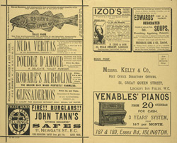 Advert for Kelly's Directory of Kennington, Battersea and South Lambeth, reverse side